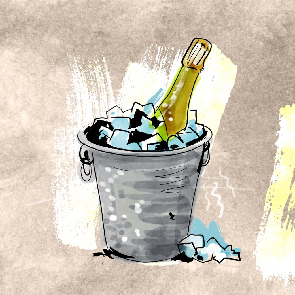 Champagne dans un bol de glace